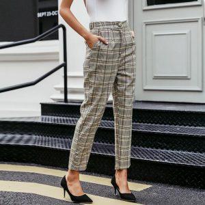 Simplee Elegant Plaid Blazer Women Pants Casual Autumn Winter Streetwear Female Trousers High Waist Office Ladies Suit Pants