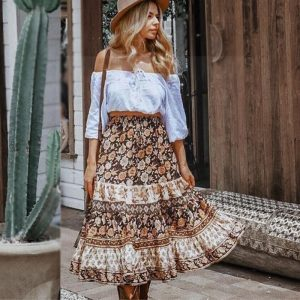 Bohemian Long Skirt with flowers