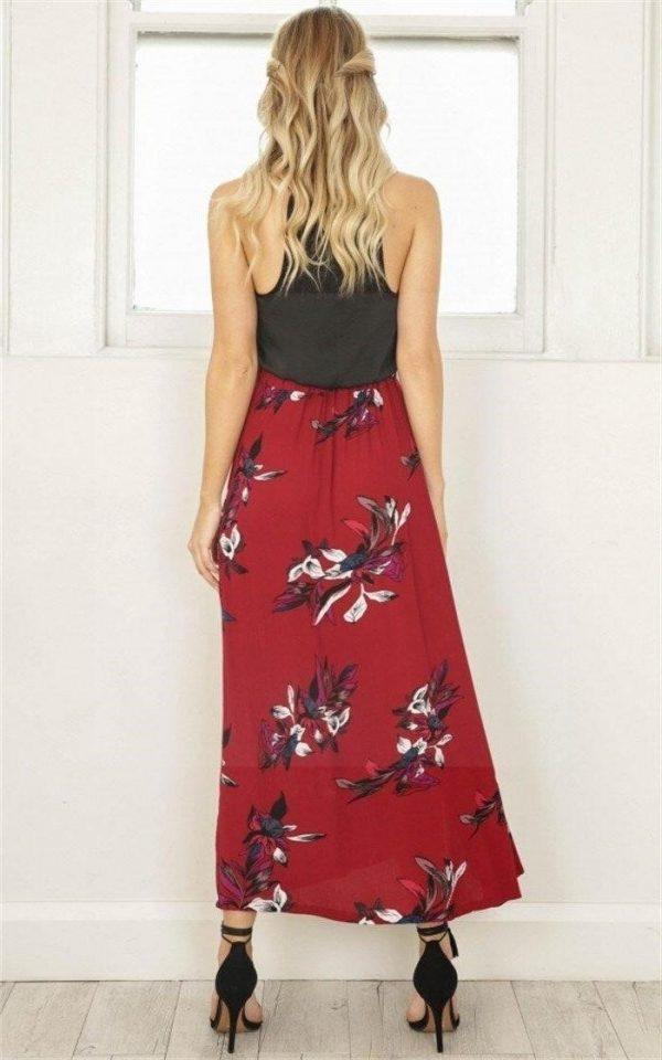 Red bohemian long skirt