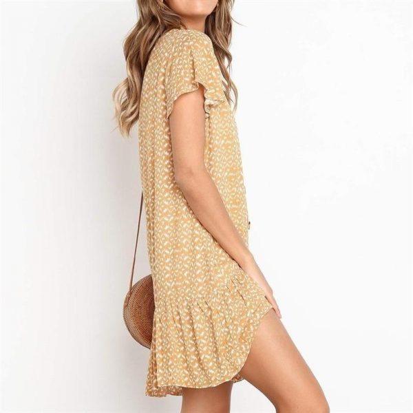 Short yellow bohemian dress