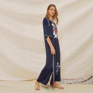 Bohemian long dress navy blue
