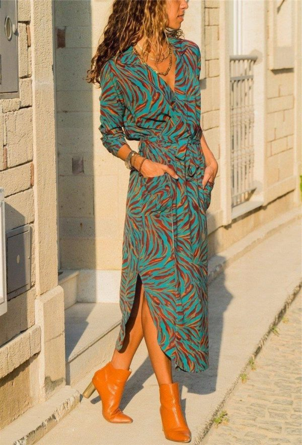 Bohemian green long dress