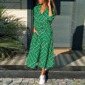 Green long dress boho style