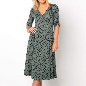 Bohemian style long green dress
