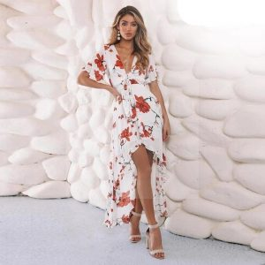 Long white bohemian dress