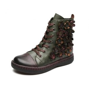 Leather Shoes with Small Flowers