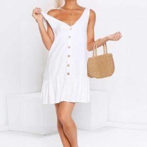 Bohemian chic white short dress