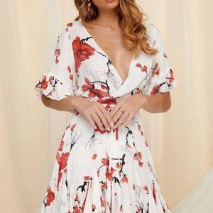 White bohemian chic dress for women