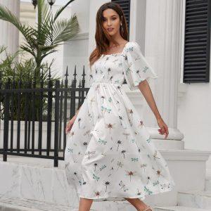 Bohemian white dress mid-length