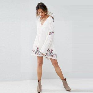 Bohemian dress hippie chic white